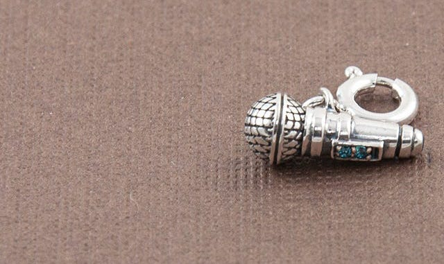 Sing Your Heart Our Microphone Charm in Silver