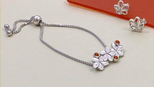 Les Fleurs Plumeria Adjustable Silver Bracelet for Women