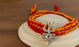 Arogya Bhava Silver Trishul Pendant Wrap Around Moli Bracelet