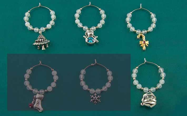 Silver Wine Charms Gift Set
