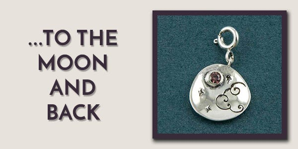 I Love You To The Moon and Back Silver Charm by Fourseven